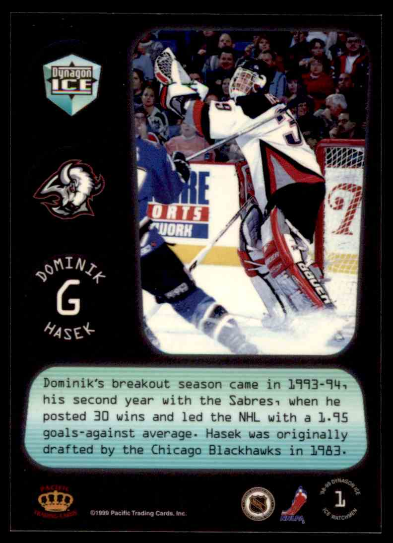1998-99 Pacific Dynagon Ice Watchmen Dominik Hasek #1 card back image