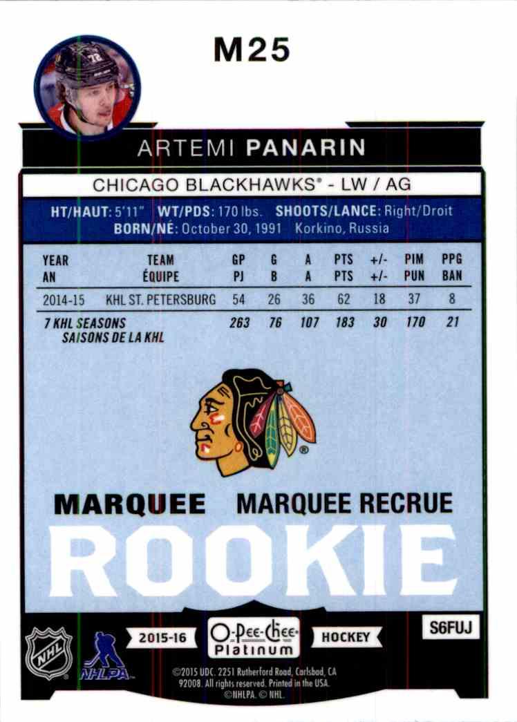 2015-16 O-Pee-Chee Platinum Artemi Panarin #M25 card back image