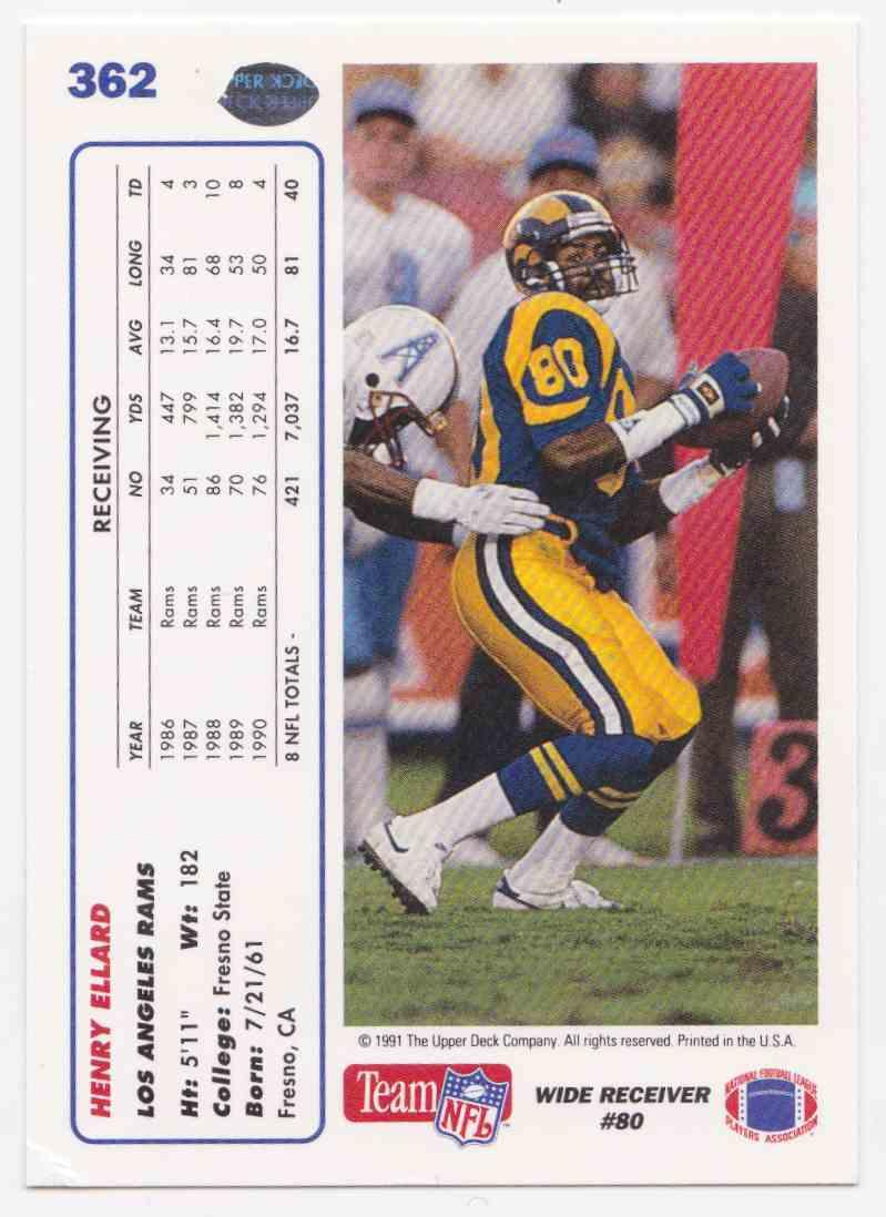 1991 Upper Deck Henry Ellard #362 card back image
