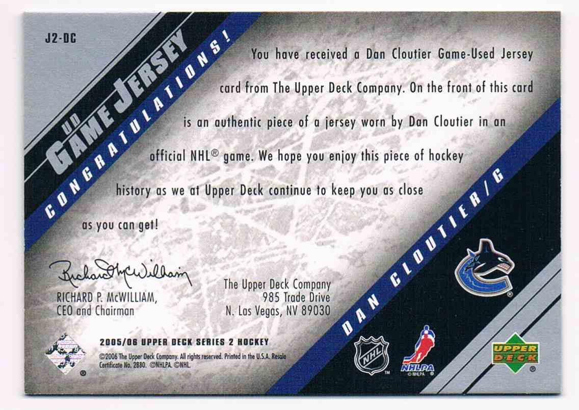 2005-06 Upper Deck UD Game Jersey Dan Cloutier #J2-DC card back image