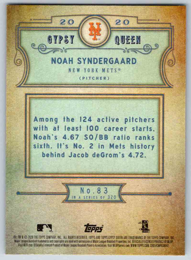 2020 Topps Gypsy Queen Base Noah Syndergaard #83 card back image