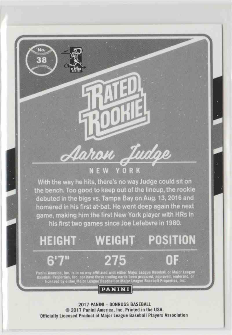 2017 Donruss Aaron Judge #38 card back image