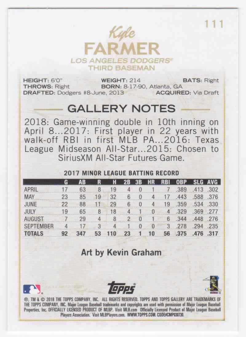 2018 Topps Gallery Kyle Farmer #111 card back image