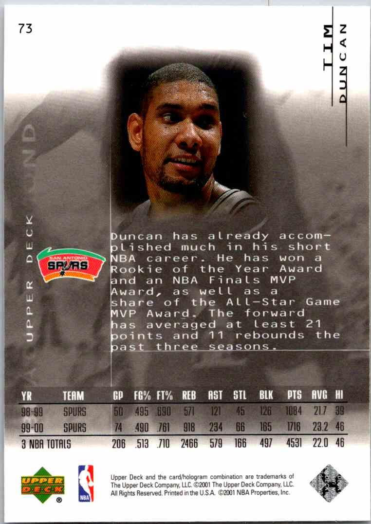 2000-01 Upper Deck Black Diamond Tim Duncan #73 card back image
