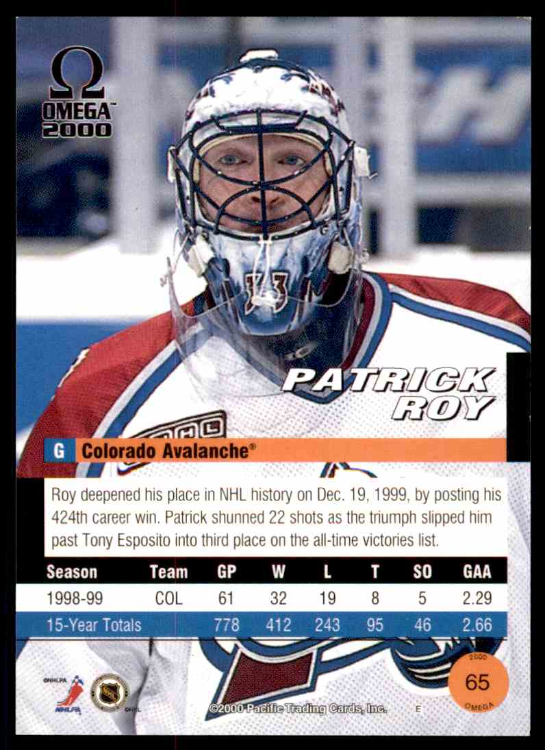 1999-00 Omega Patrick Roy #65 card back image