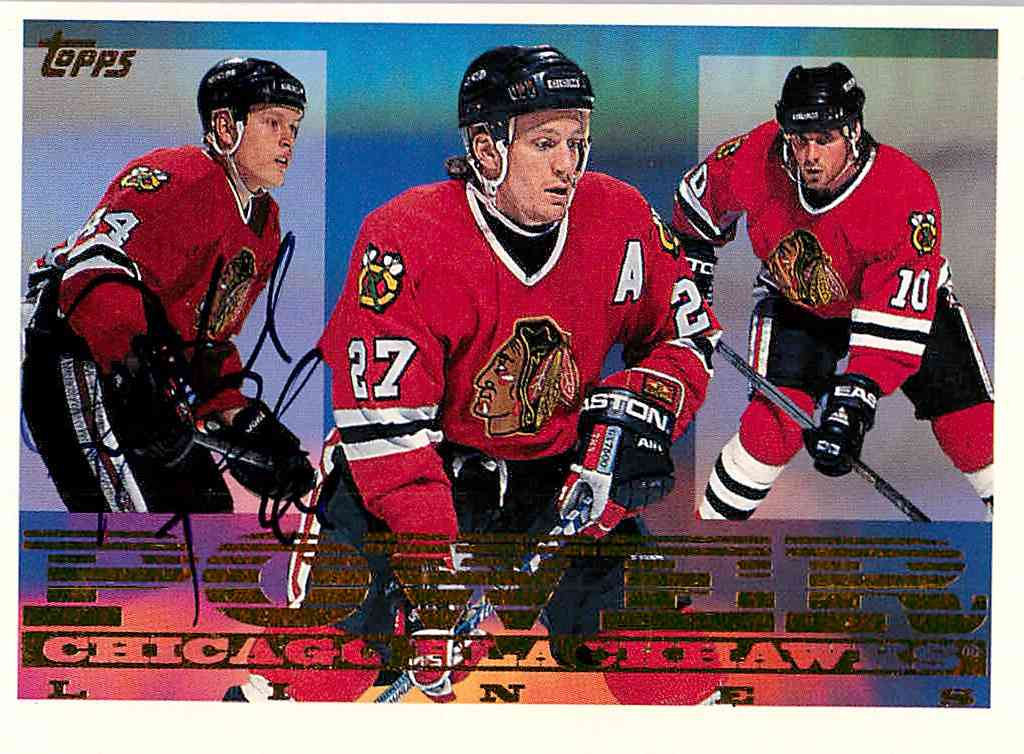 1995-96 Topps Power Lines Patrick Poulin, Jeremy Roenick, Tony Amonte #4PL card front image