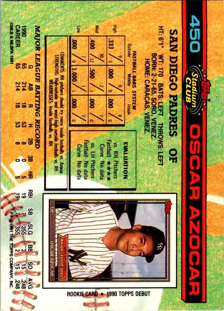 1990 Topps Stadium Club Oscar Azocar #450 card back image