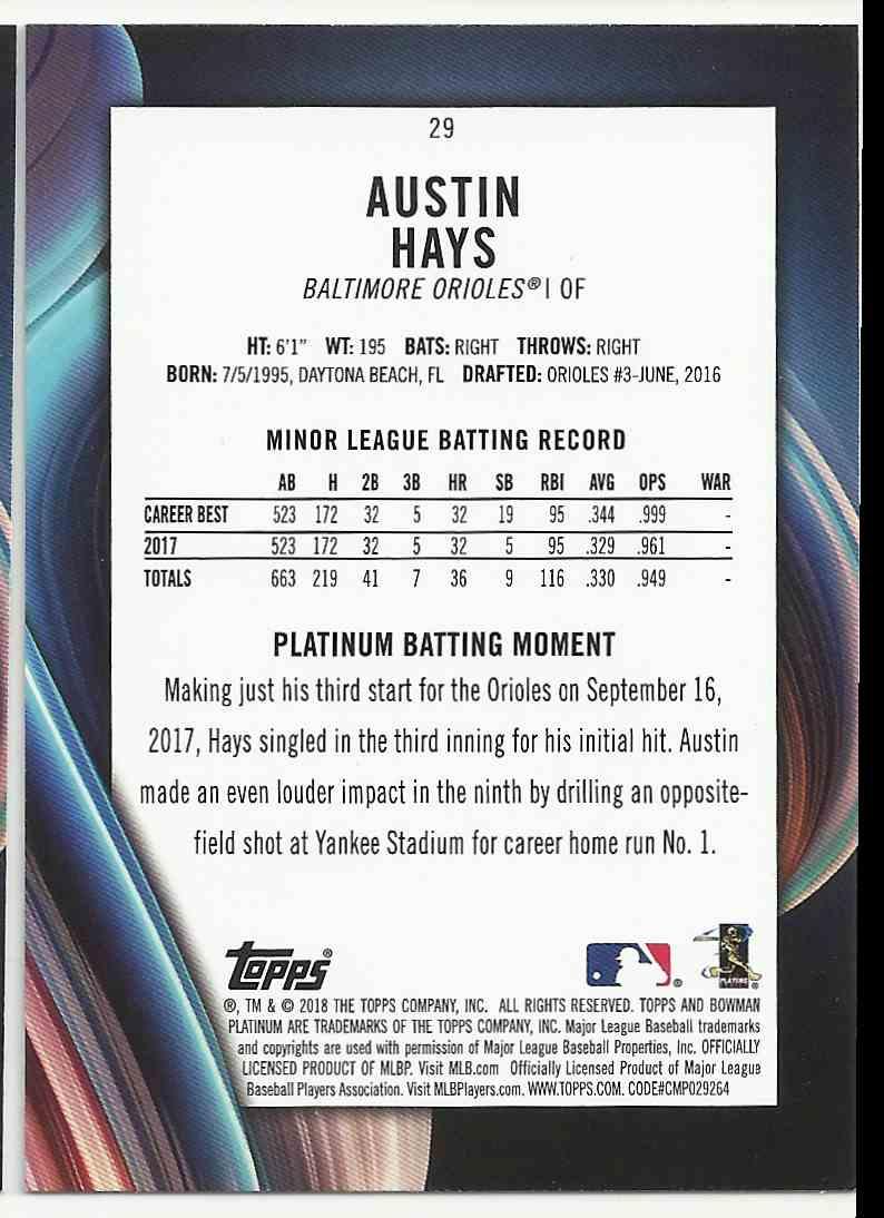 2018 Bowman Platinum Austin Hays #29 card back image