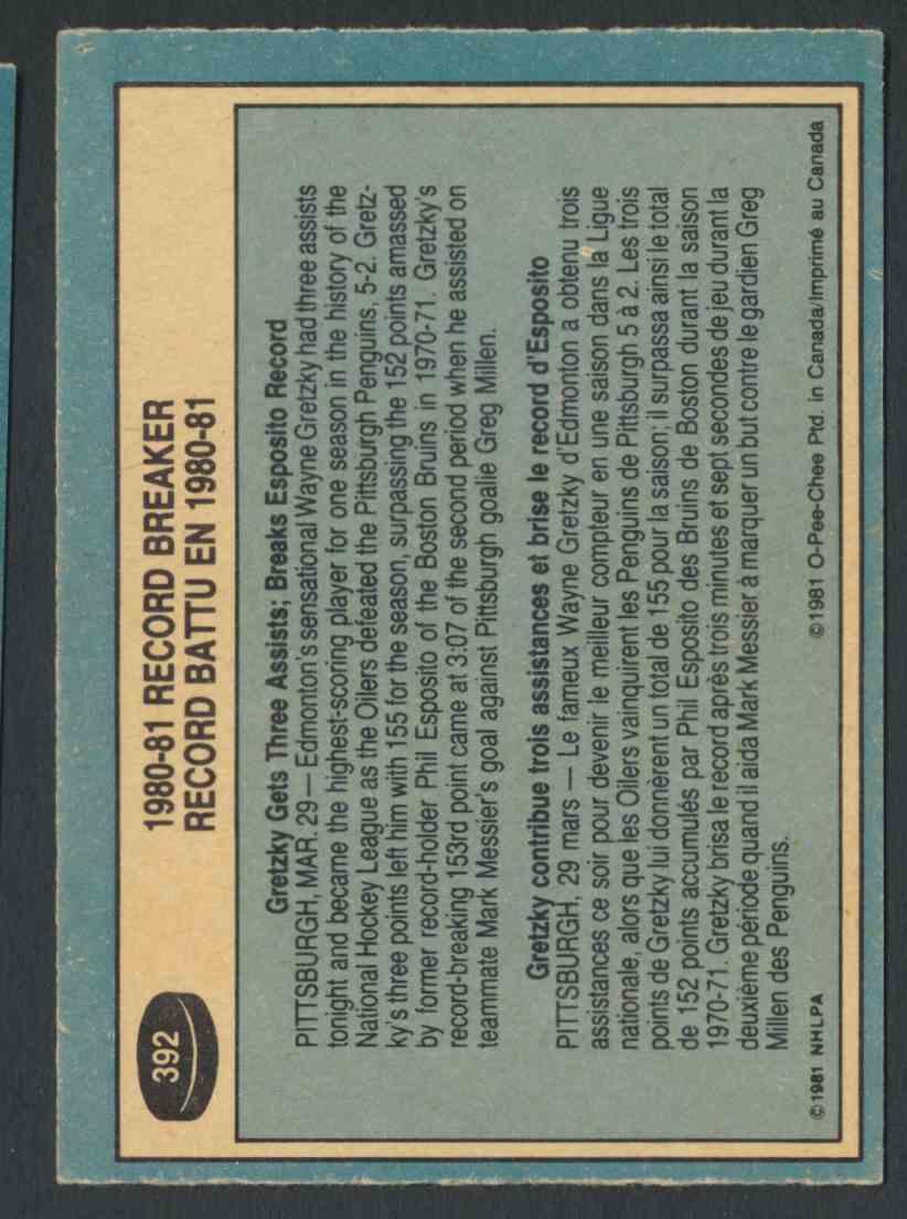 1981-82 0-Pee-Chee Wayne Gretzky - Near Mint/Mint #392 card back image