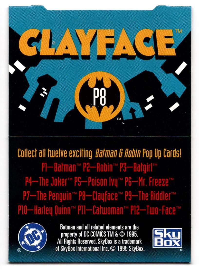 1995 Skybox Adventures Of Batman And Robin Pop Up Card Clayface #8 card back image