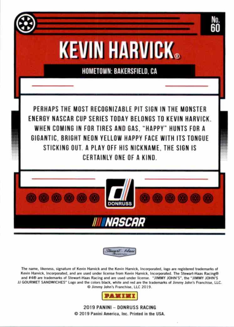 2019 Donruss Silver Kevin Harvick #60 card back image