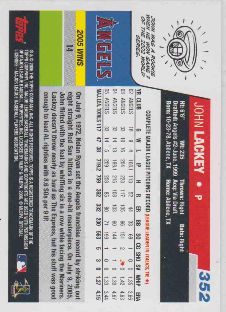 2006 Topps John Lackey #352 on Kronozio