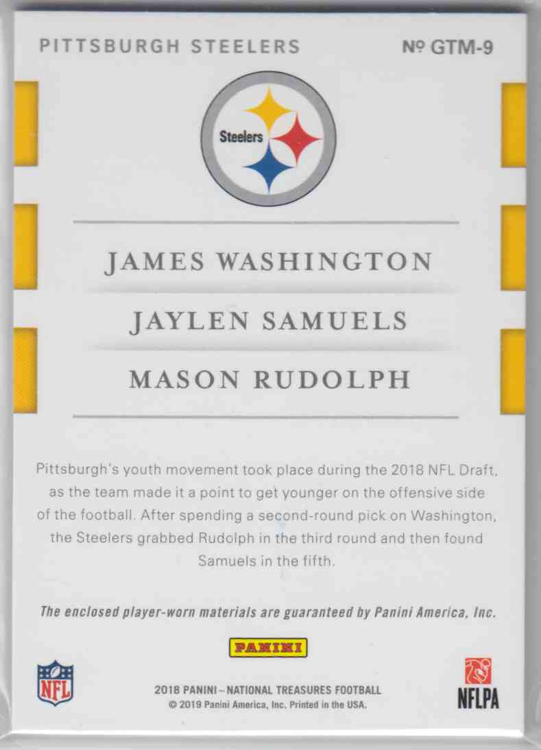 2018 Panini National Treasures Rookie NFL Gear Trio Materials Prime James Washington, Jaylen Samuels, Mason Rudolph #GTM-9 card back image