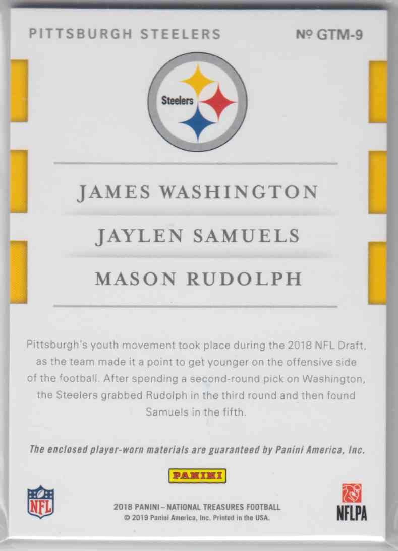 2018 Panini National Treasures Rookie NFL Gear Trio Materials Prime James Washington, Jaylen Samuels, Mason Rudolph #GTM-9 card back image