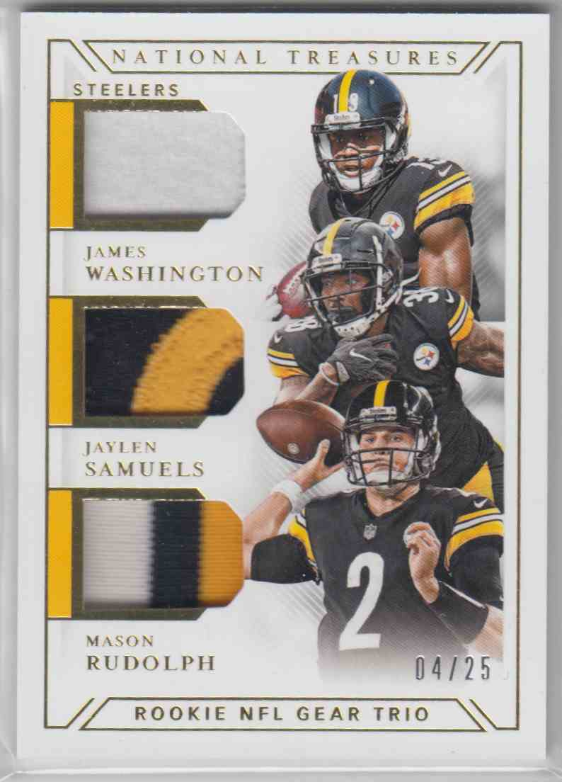 2018 Panini National Treasures Rookie NFL Gear Trio Materials Prime James Washington, Jaylen Samuels, Mason Rudolph #GTM-9 card front image