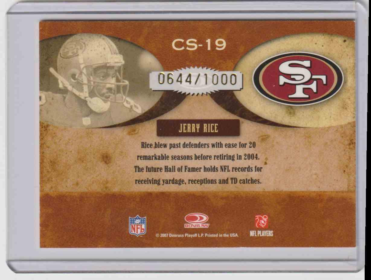 2007 Donruss Classics Jerry Rice #CS19 card back image