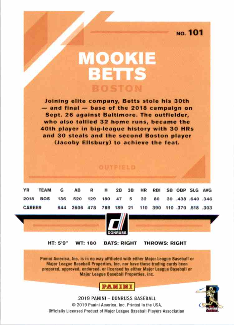2019 Donruss Variations Mookie Betts #101 card back image
