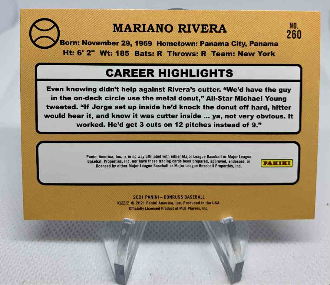 2021 Donruss Mariano Rivera Retro '87 Red Holo #260 card back image