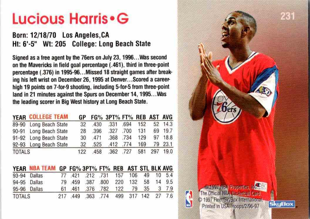 1997-98 NBA Hoops Lucious Harris #231 card back image