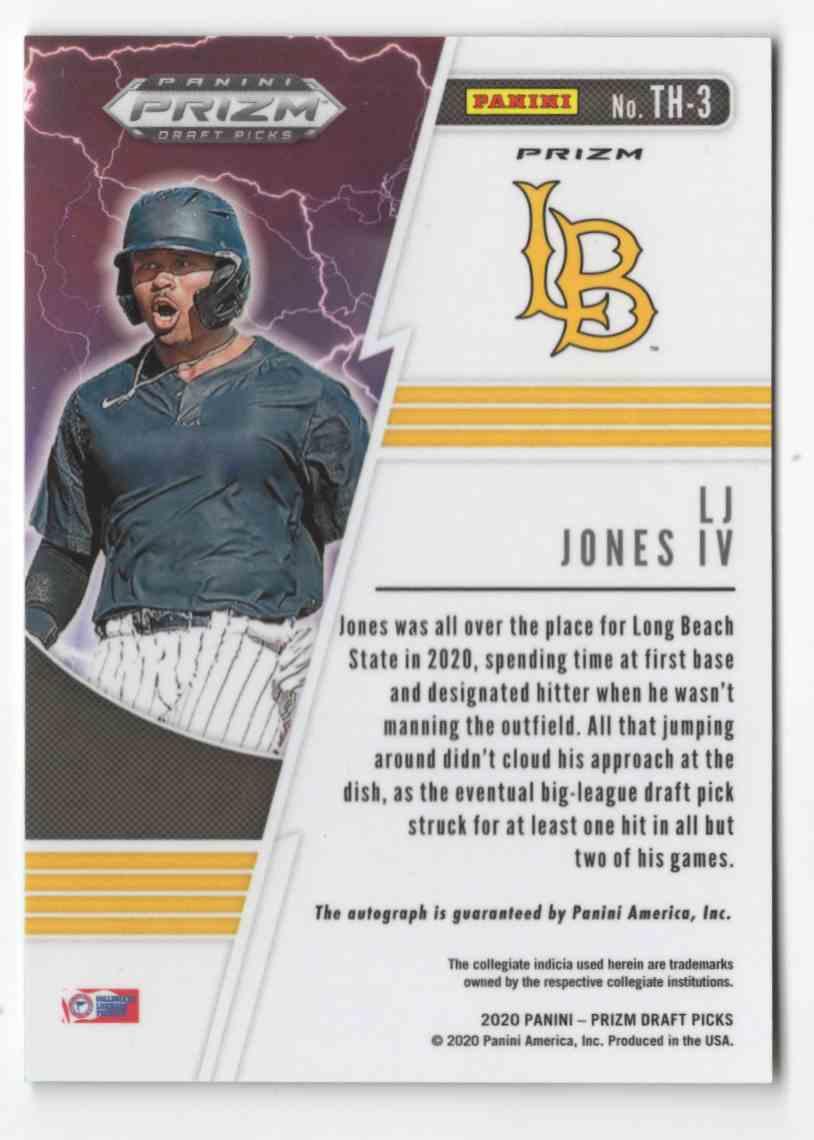 2020 Panini Prizm Draft Picks Thunderstruck Autographs Prizms Green And Yellow Hyper L.J. Jones IV #TH3 card back image