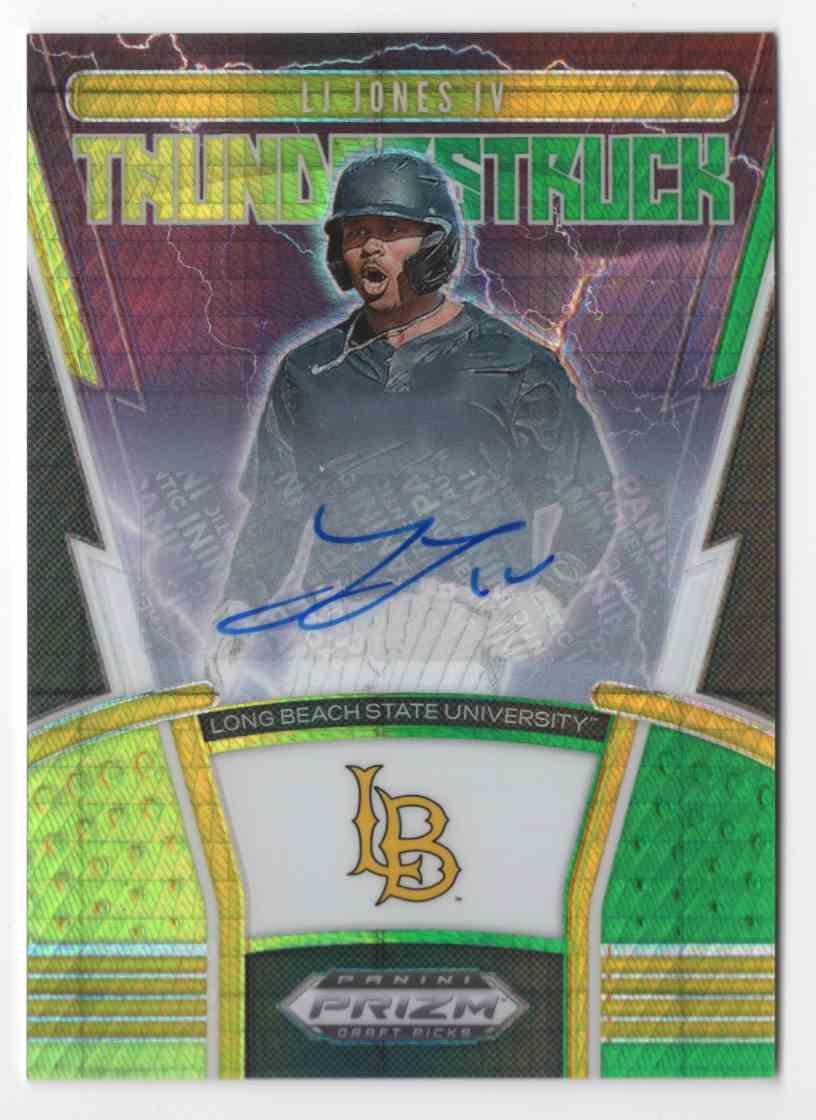 2020 Panini Prizm Draft Picks Thunderstruck Autographs Prizms Green And Yellow Hyper L.J. Jones IV #TH3 card front image
