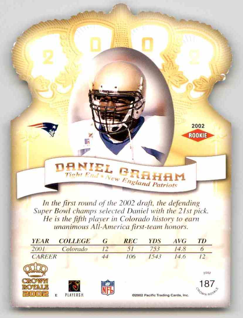 2002 Crown Royale Daniel Graham RC #187 card back image