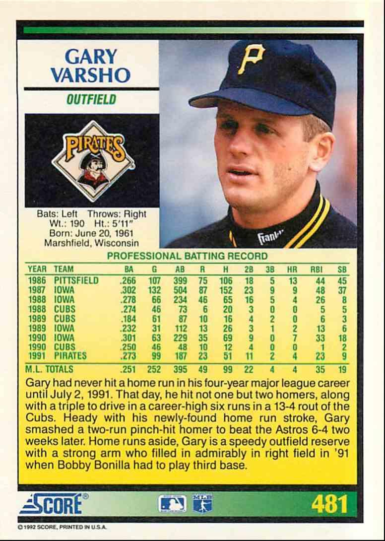 1992 Score Gary Varsho #481 card back image