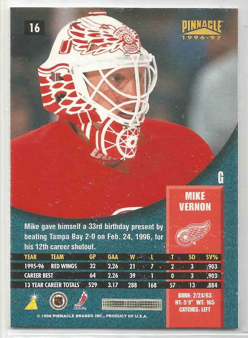 1996-97 Pinnacle Premium Stock Mike Vernon #16 card back image
