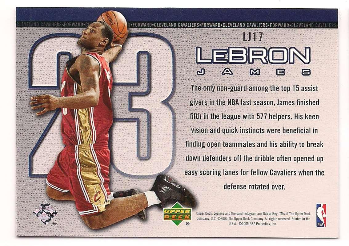 2005-06 Upper Deck Lebron James #LJ17 card back image