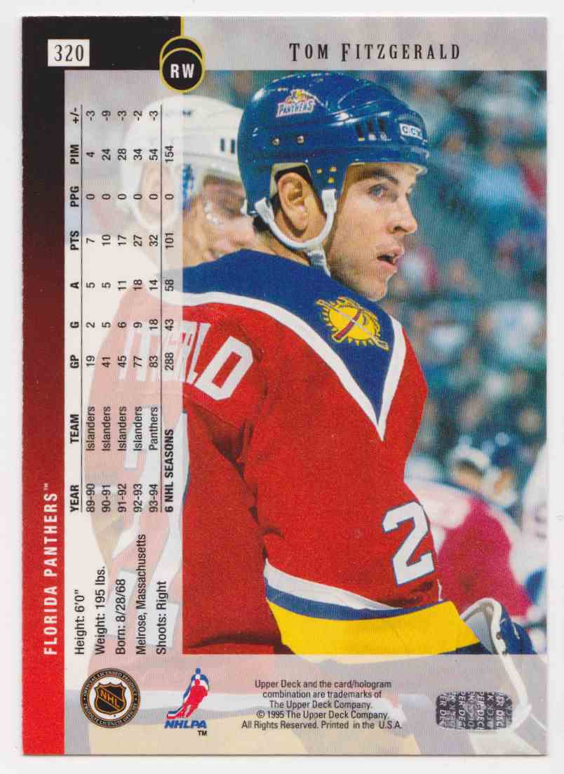1994-95 Upper Deck Tom Fitzgerald #320 card back image