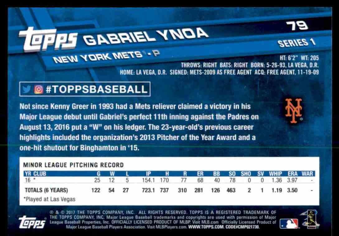 2017 Topps Gabriel Ynoa RC #79 card back image