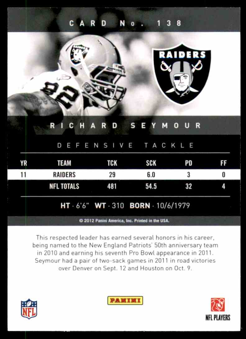 2012 Prestige Richard Seymour #138 card back image