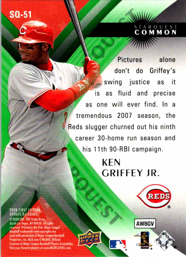 2008 Upper Deck First Edition Star Quest Ken Griffey Jr, #SQ-51 card back image