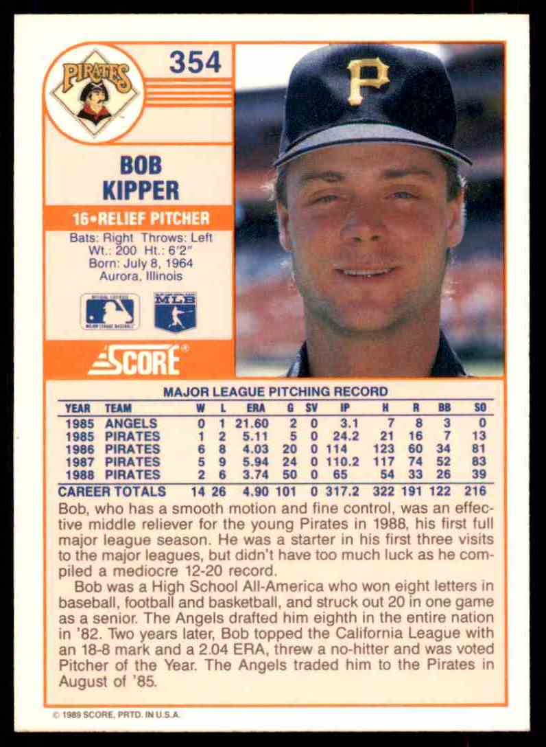 1989 Score Regular Bob Kipper #354 card back image