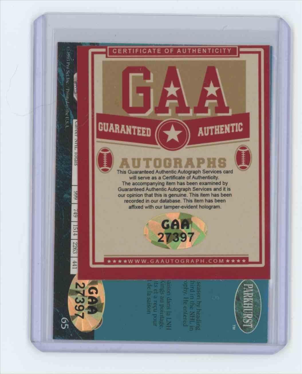 1992 1992-93 Parkhurst #65 Wayne Gretzky Los Angeles Kings Auto Wayne Gretzky #65 card back image