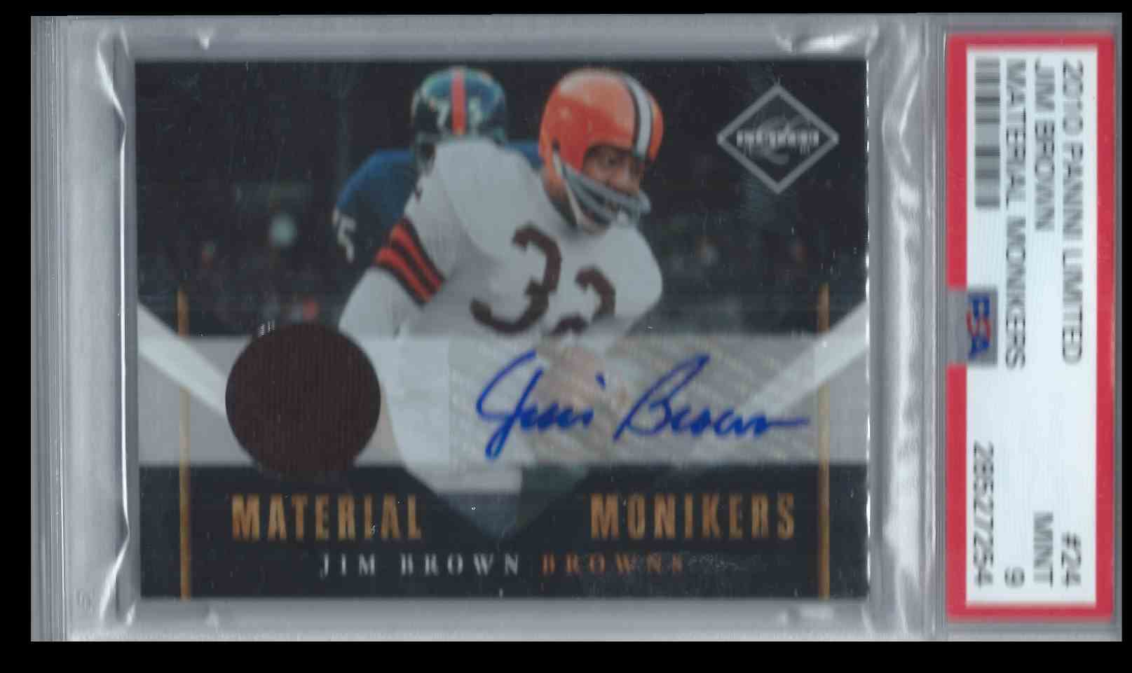 2010 Panini Limited Material Monikers Jim Brown #24 card front image