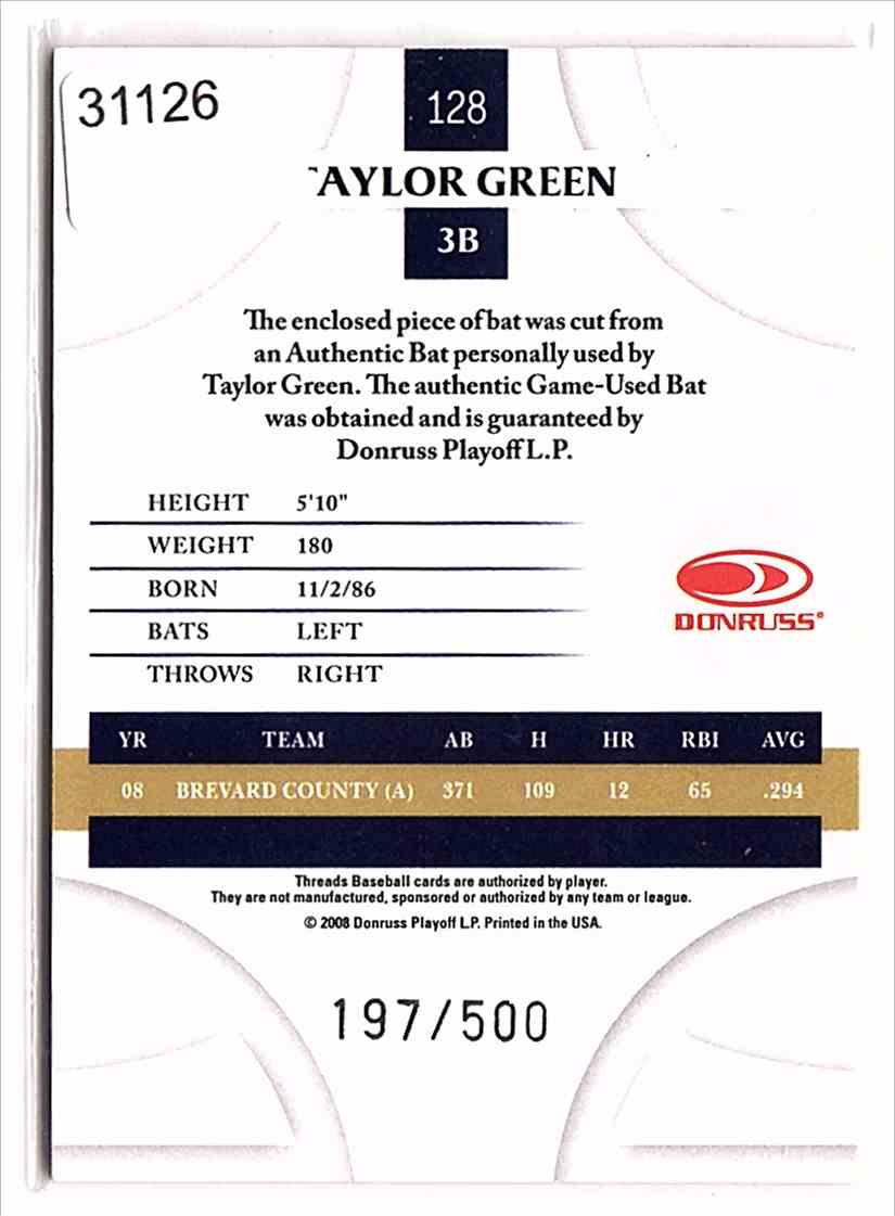2008 Donruss Threads Bats Taylor Green #128 card back image