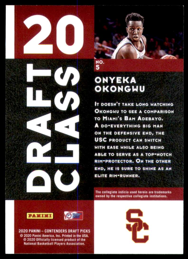 2020-21 Panini Contenders Draft Picks Draft Class Onyeka Okongwu #5 card back image