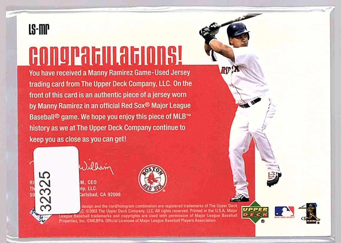 2003 Upper Deck Leading Swatches Manny Ramirez Avg #LS-MR card back image