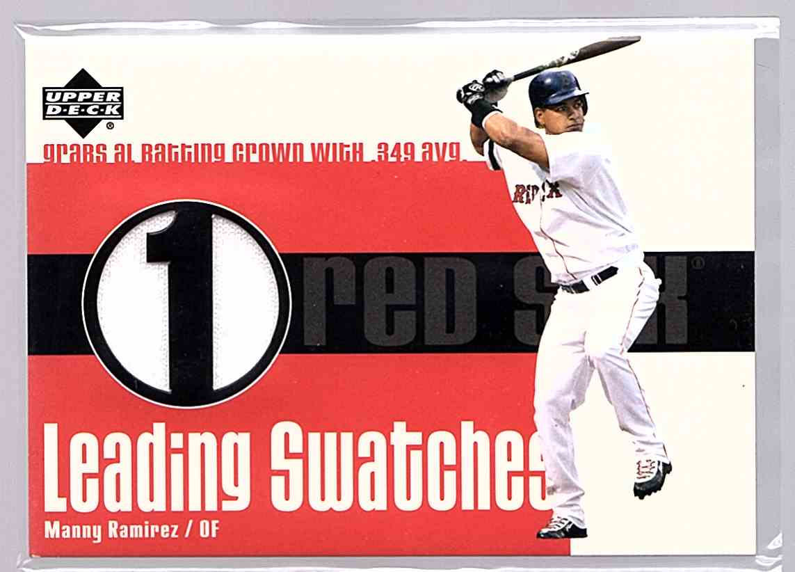 2003 Upper Deck Leading Swatches Manny Ramirez Avg #LS-MR card front image