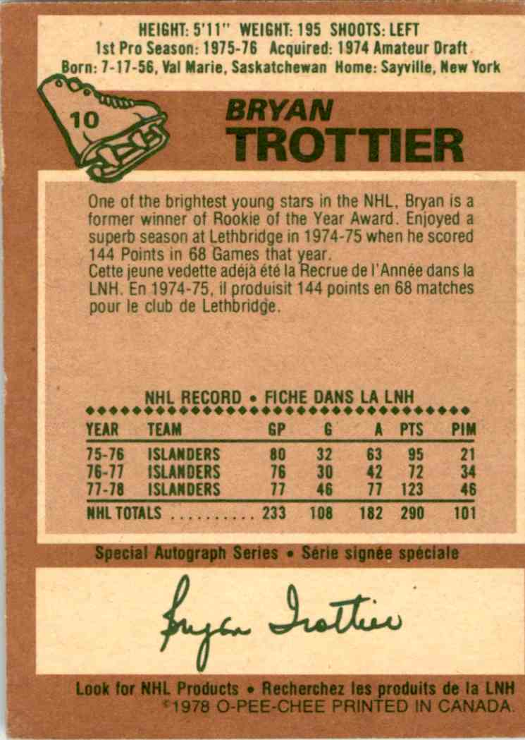 1978-79 O-Pee-Chee Bryan Trottier #10 card back image