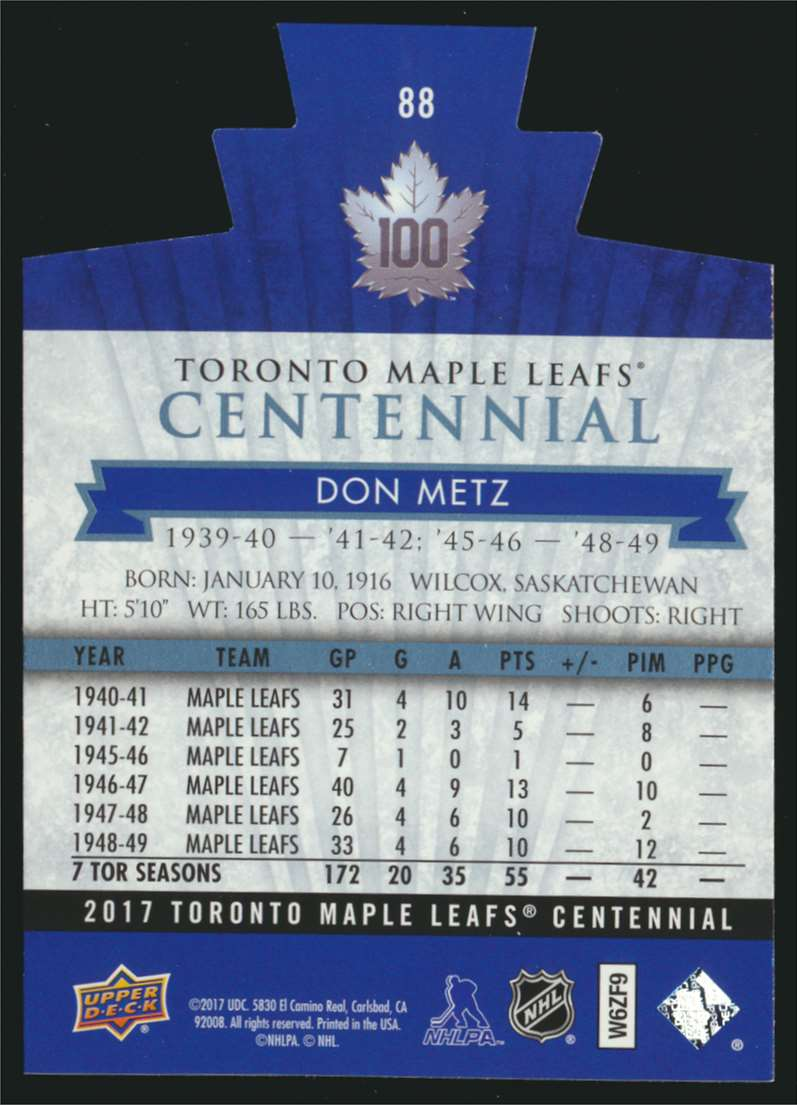 2017-18 UD Maple Leafs Centennial Die Cut Don Metz #88 card back image
