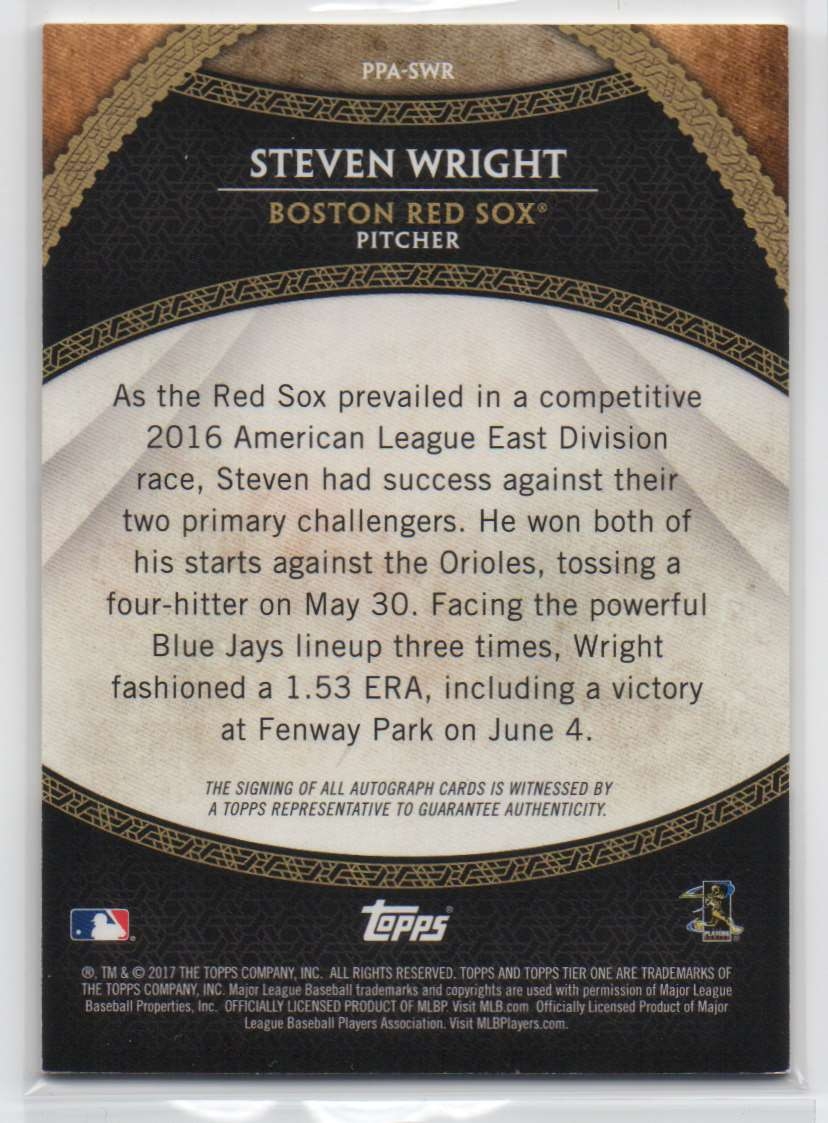 2017 Topps Tier One Prime Performers Autographs Steven Wright #PPA-SWR card back image