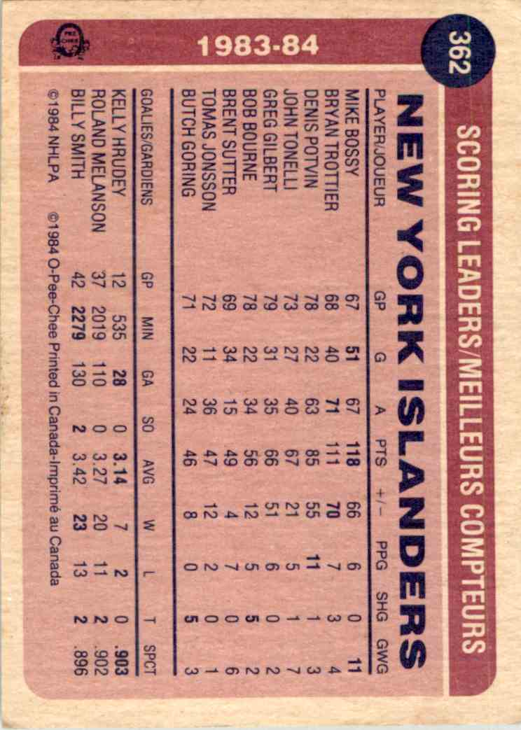 1984-85 O-Pee-Chee Mike Bossy #362 card back image