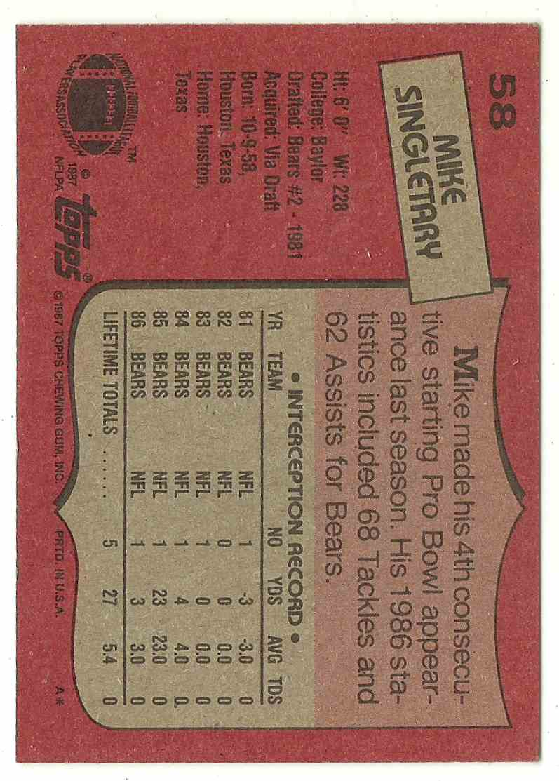 1991 Topps Mike Singletary #58 card back image