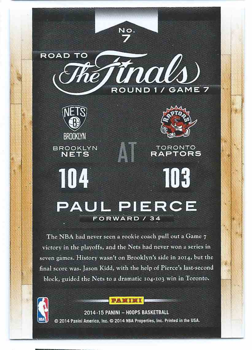 2014-15 Panini NBA Hoops Road To The Finals Paul Pierce #7 card back image