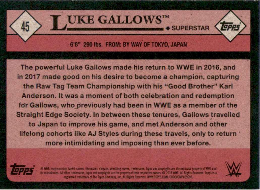 2018 Topps Heritage Wwe Bronze Luke Gallows #45 card back image