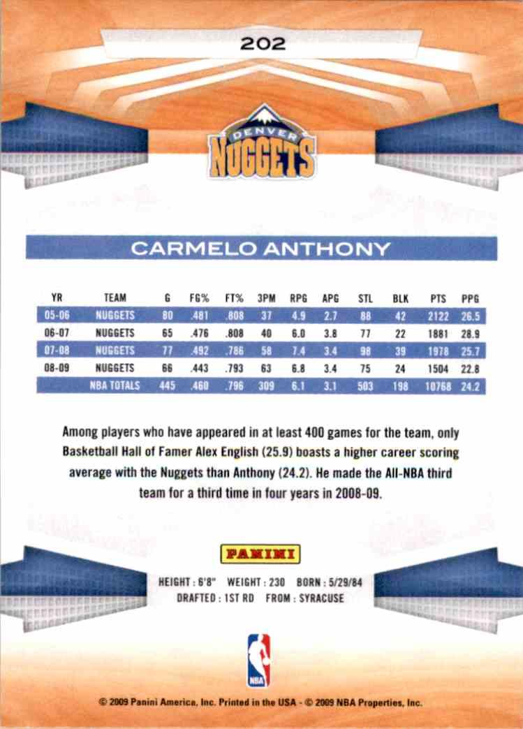 2009-10 Panini Carmelo Anthony #202 card back image