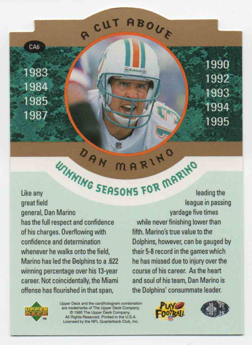1996 Upper Deck A Cut Above Dan Marino #6 card back image