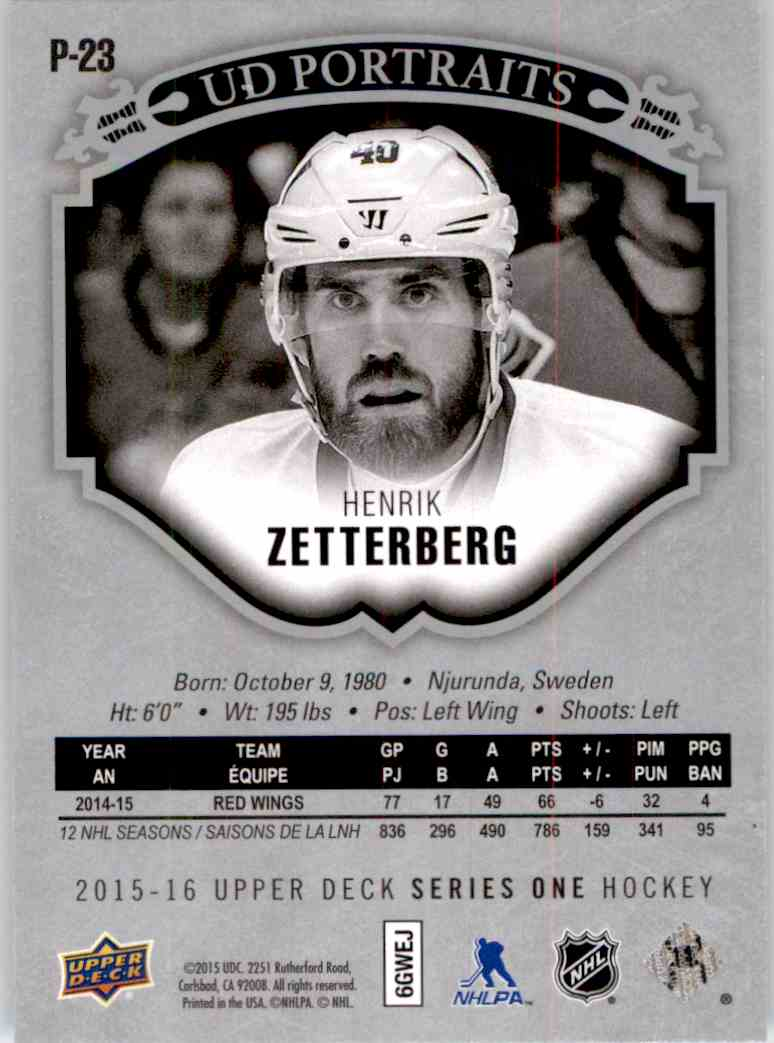 2015-16 Upper Deck Portraits Henrik Zetterberg #P23 card back image